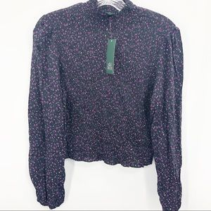 Wild Fable Floral Smocked Crop Mock Neck NWT
